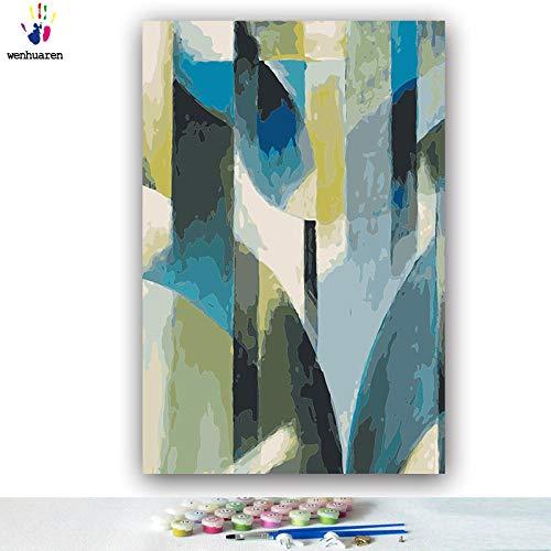 SiJOO Ausmalbilder mit digitaler DIY-Farbzusammenfassung blaugrünes Farbbilderrahmenbild mit digitaler Dekoration