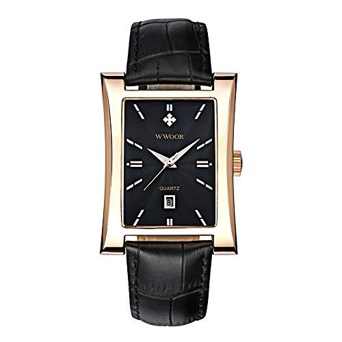WWOOR - Orologio da polso al quarzo con quadrante rettangolare, cinturino in pelle impermeabile e calendario