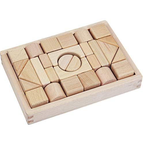 積み木 28pcs 木のおもちゃ 天然 木の色 ブロック GYBBER&MUMU モンテッソーリ 3歳から 知育 立体パズル 木箱付き (木の色_28個)