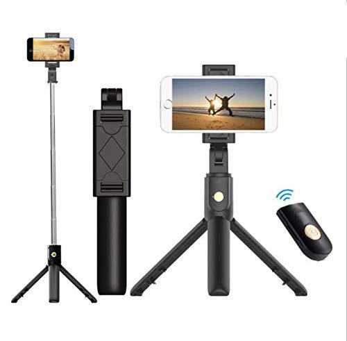 Bluetooth Wireless Selfie Stick para iPhone Huawei Android Soporte para teléfono móvil Trípode con Control Remoto para teléfono Inteligente Soporte de Montaje Clip-Negro