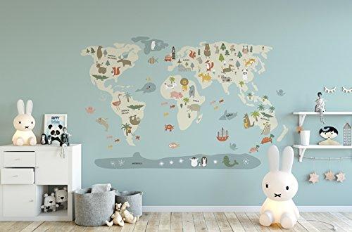 Menudos Cuadros Vinilo Decorativo Infantil mapamundi Beige de Animales (Grande 150cmx90cm)