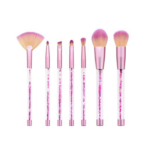 7 brochas de maquillaje con mango de lentejuelas, brochas de maquillaje profesionales, para rubor, sombra de ojos para mujer (T-07-063)