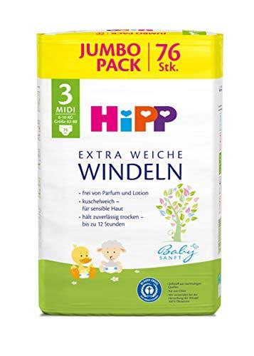 HiPP Babysanft Windeln Midi 3 Jumbo, 1er Pack (1 x 76 Stück)