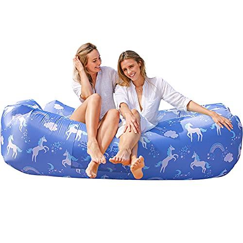 AlphaBeing Tumbona hinchable, mejor tumbona de aire para viajes, camping, senderismo, sofá inflable ideal para fiestas de piscina y playa, silla de aire perfecta para picnics o festivales