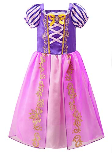 YOSICIL Disfraz de Princesa Rapunzel para niñas Disfraz de Halloween Carnaval Fiesta de Cumpleaños Cosplay Vestido de Princesa de Fiesta Traje Parte Fancy Dress Infantil 3-10 años