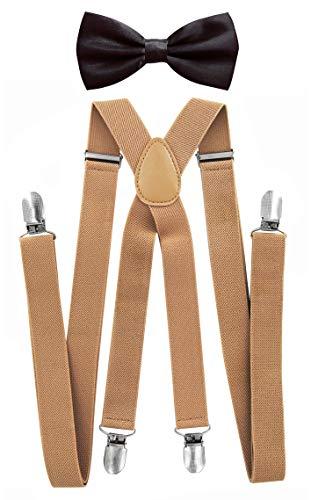 axy® Herren Hosenträger mit Fliege - 4 Starken Clips X-Form (Beige (Hosenträger Breit 2,5cm)+Dunkelbraune Fliege)
