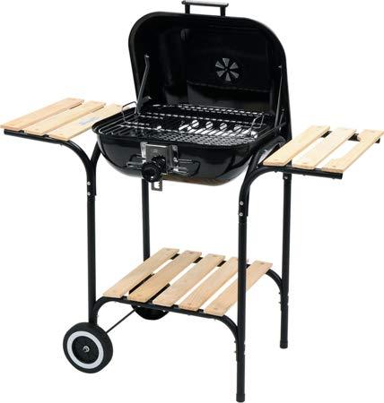 Yato 99581 Garden BBQ Grill, lid&shelfes, 47 x 47 cm