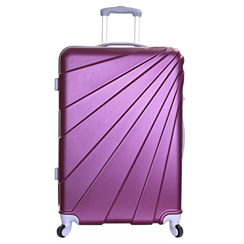 Slimbridge Extra Large Hard Luggage Suitcase Bag XL 76 cm 4.4 kg 100 litres 4 Spinner Wheels Number Lock, Fusion Purple