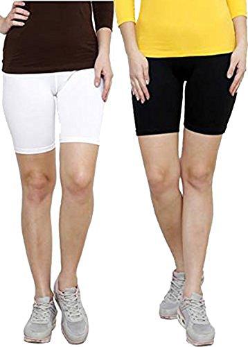 elegance1234 2 Pairs Multi Pack Women's Stretchy Cotton Lycra Over-Knee Short Active Leggings **Same Day Posting** (XXX-Large UK 20 (46), Black & White)