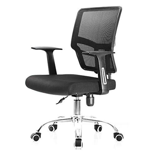 Chaise de Bureau Ergonomique, Filet Respirant, éponge Native, Double Tube en Acier, très Solide, Rotation à 360 °, Convient aux employés de Bureau (Noir)