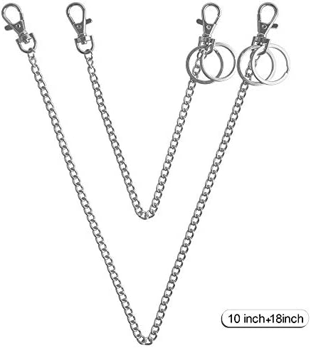Swpeet 3Pcs Luxury Fashion 47 Inche Replacement Flat Chain Strap with Buckles Set