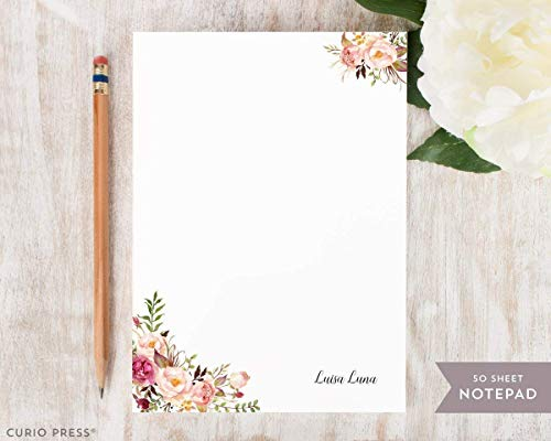 PAINTED FLORALS I NOTEPAD - Personalized Flower Stationery/Stationary Note Pad