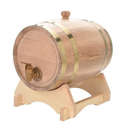 Premium eiken veroudering vat houten wijnvaten, massief houten basis hars kraan, met uitlaat plug, geschikt voor whisky bier bourbon tequila enz. / 3L