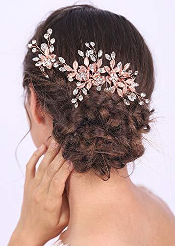 Anglacesmade - Peineta para novia, diseño de flores y hojas