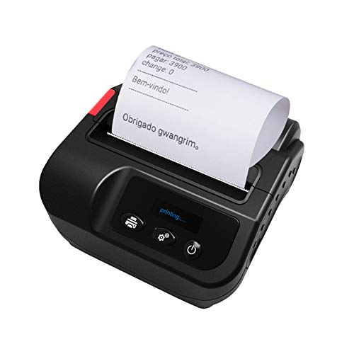 Pinkskattings@ 80 mm Bluetooth printer met oplaadbare batterij, eenvoudig te installeren - Ondersteunt Android/iOS/Windows System/ESC/POS