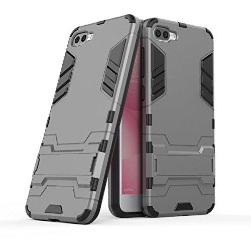 Hülle für Asus ZenFone 4 Max ZC520KL (5,2 Zoll) 2 in 1 Hybrid Dual Layer Shell Armor Schutzhülle mit Standfunktion Hülle (Grau)