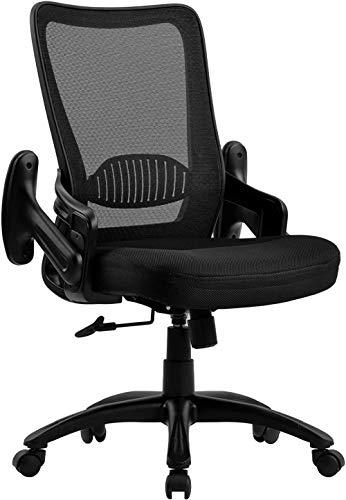 Mesh Bürostuhl Flip Up Arms Ergonomischer Schreibtischstuhl Drehbarer Computerstuhl mit Lordosenstütze Höhenverstellbarer ArbeitsstuhlSchwarz