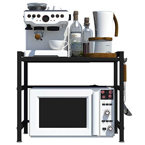CM67 Horno microondas de acero al carbono, 2 capas, resistente estante para microondas, organizador para encimeras de cocina con 3 ganchos