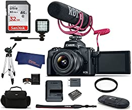 Canon EOS M50 Mirrorless Digital Camera with 15-45mm Lens Video Creator Kit - Black Bundle, Includes 32GB SDHC Class 10 Memory Card, Tripod, Spare Battery, LED Ligth, More (11 Items)