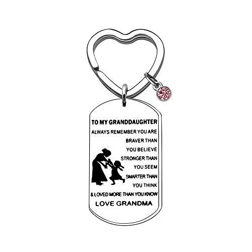 JIYAOANDX naar kleindochter sleutelhanger ringen inspirerende van oma nana gelukkige geboortesteen hond tag sleutelhanger sleutelhanger altijd onthouden u bent dapper
