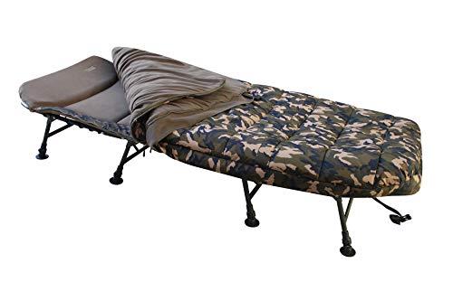 MK-Angelsport 8 Bein Liege mit Schlafsack Bedchair Camo Sleeping System Karpfenliege Liege Gartenliege Schlafsack