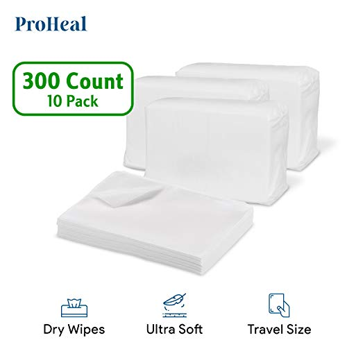 Disposable Dry Wipes for Baby and Adults, 300 Count (10 Pack) - Ultra Soft Cotton Tissue Washcloths - 7' x 13' Travel Size - Non-Moistened Cleansing Cloths for Incontinence, Body and Face - ProHeal