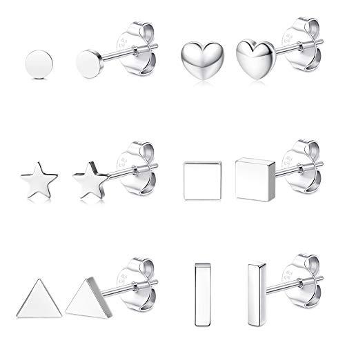 Milacolato 6 Pares Pendientes de Botón de Plata para Mujer, Pequeño Corazón, Barra de Estrella, Pendiente Geométrico, Mini Cartílago,Hélice,Tragus, Pendientes para Mujeres y Niñas