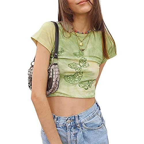 Mujeres Y2k gráfico de la impresión de la mariposa de la camiseta casual cuello redondo manga corta Crop Top Verano Harajuku E-Girl Tee Tops Streetwear