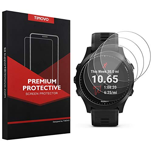 TiMOVO 5-Pack Tempered Glass Screen Protector for Garmin Forerunner 945, Premium 2.5D Arc Edges 9H Hardness HD Clear Watch Protective Film – Clear