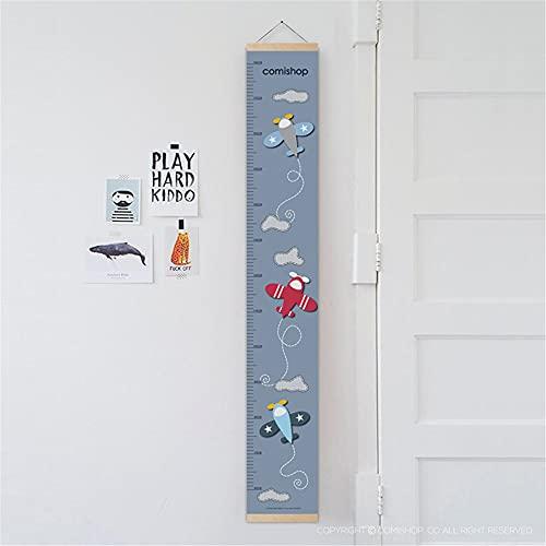 medidor niños pared,Regla de altura para niños, regla de altura para niños de decoración de tela de avión modelo 3D