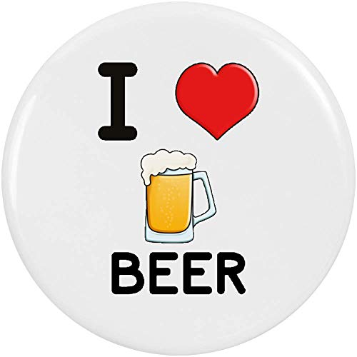 Stamp Press 2 x 38mm 'I Love Beer' Pin Knopf-Abzeichen (BB00000709)