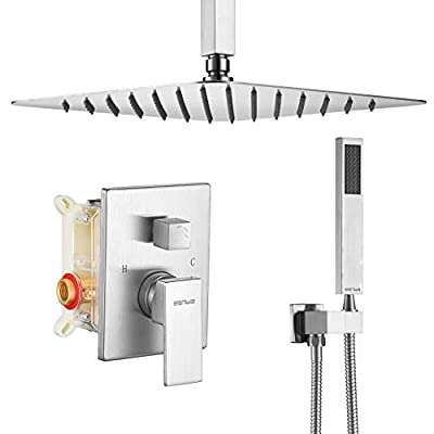 ESNBIA Shower System, Bathroom 10 Inches Rain Shower Head with Handheld Combo Set, Ceiling Mounted High Pressure Rainfall Dual Shower Head System, Shower Faucet Set with Valve and Trim, Brushed Nickel