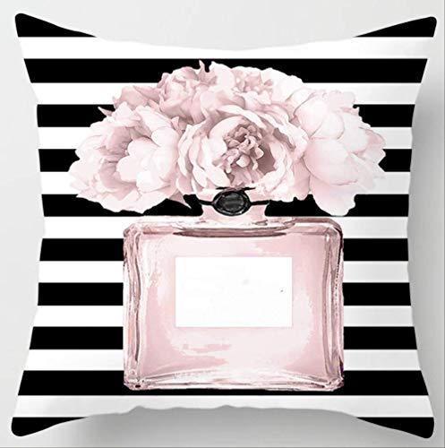 JOEYFAYE Pintado a Mano Flor Perfume Botella Super Soft Cojín Cubierta Lino Algodón Coche Interior Sofá Decoración Throw Pillow Cover 45 * 45cm 6a