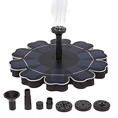 Decdeal Solar Fountain Pump for Birdbath, 2.5W Freestanding Floating Brushless Water Pump with 8 Sprays, 2019 Upgraded Pump for Outdoor Bird Bath Garden Pond Pool