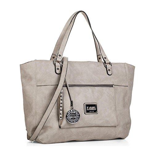 Lois - Bolso de Mujer Grande Tipo Shopping con 2 Asas Largas y Bandolera. Cuero PU. para Paseo Compras o Viaje. Diseño Elegante. Colgante de Regalo. 92741, Color Beige