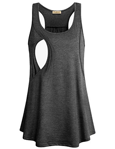 CzzzyL Sleeveless Nursing Top, Women Casual Layered Tunic Maternity Tops Best Nursing Tanks Soft Postpartum Shirts Casual Wear Home Simple Comfortable Loose Breastfeeding Clothes(Grey,XX-Large)