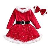 MAHUAOYIXI 2 Piezas Navidad Niña Manga Larga Cosida Vestido de Punto con Diadema Vestido Casual Cómodo Vestido de Fiesta Princesa Niña Elegante (Rojo, 12-18 Meses)