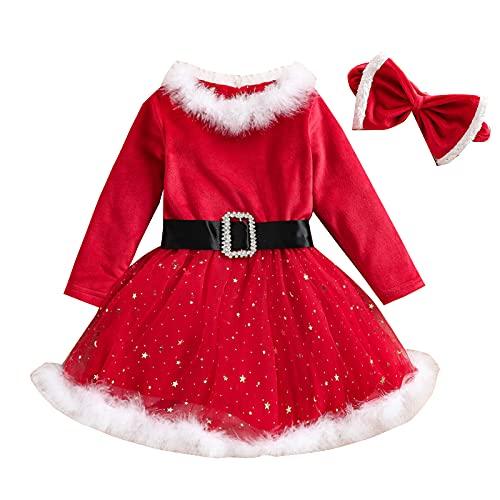 Neonate Red Christmas Dress Manica Lunga in Pile Costumi di Babbo Natale Abiti Cosplay Vestiti di Natale Warm (Rosso B, 12-18 M)