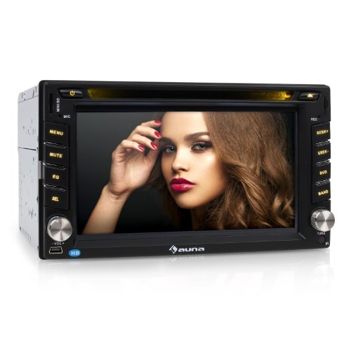 AUNA MVD-481 autoradio (16 cm (6,2''), lettore DVD, porte USB e SD, ingressi AUX/RCA, display touchscreen, interfaccia Bluetooth con microfono, telecomando in dotazione, sintonizzatore AM/FM) - nero
