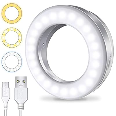 Meifigno Selfie Ring Light [3 Light Modes] [Rechargeable], Clip on Phone Camera LED Light, Adjustable Brightness Selfie Circle Light for iPhone X Xr Xs 7 8 Plus 11 12 Pro Max Android iPad Laptop from Meifigno