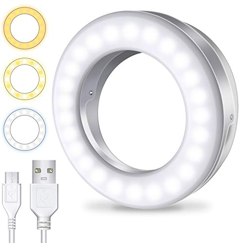 Meifigno Selfie Ring Light [3 Light Modes] [Rechargeable], Clip on Phone Camera LED Light
