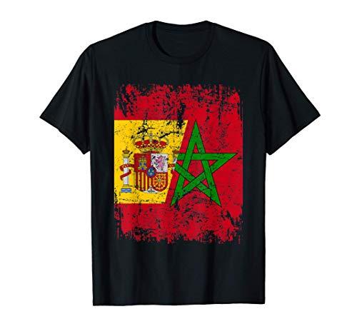 MARRUECOS Camiseta ESPAÑA BANDERA de la AMISTAD MARRUECOS Camiseta