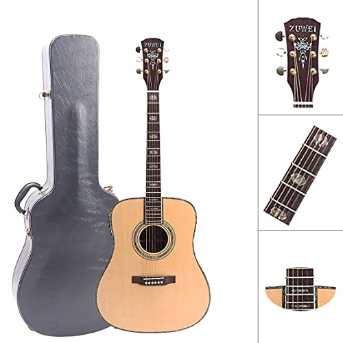 ZUWEI 41in Handmade Electric Acoustic Guitar Solid Spruce Top,Rosewood Back&side Abalone Inlay, Grover Tuner 20F Ebony Fingerboard Lower Action Bone Nut& Saddle Free Hardcase Gloss Finish