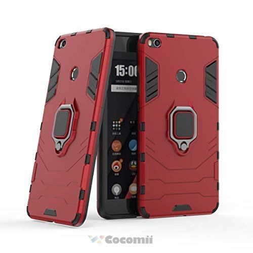 Cocomii Black Panther Armor Xiaomi Mi MAX 2 Funda Nuevo [Robusto] Táctico Anillo Metálico Sujeción Soporte [Funciona con El Montaje De Coche Magnético] Case Carcasa for Xiaomi Mi MAX 2 (B.Red)