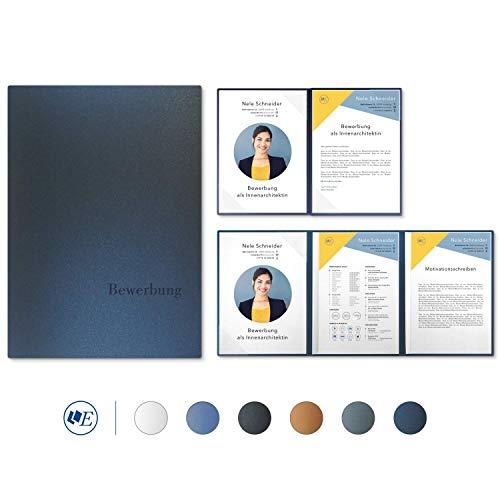 """5 Stück 4-teilige Bewerbungsmappen Esclusiva® Exzellent-plus in Nachtblau mit 2 Klemmschienen // in 1A-Premium-Qualität mit hochwertiger Flach-Prägung """"BEWERBUNG"""" // Produkt-Design von"""