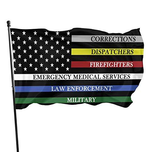 Bandera de EE. UU. Con líneas de colores Bandera 3 x 5 pies Bandera grande de poliéster cosida Bandera estándar para colgar en el exterior para patio, jardín, césped, vacaciones