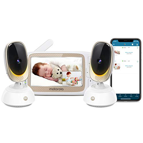 Motorola Connect85-2 Video Baby Monitor – 5' Parent Unit and WiFi HD Viewing – Two Cameras with Mood Light, Remote Pan Scan, Digital Tilt/Zoom, 2-Way Talk, Night Vision, Temp Sensor