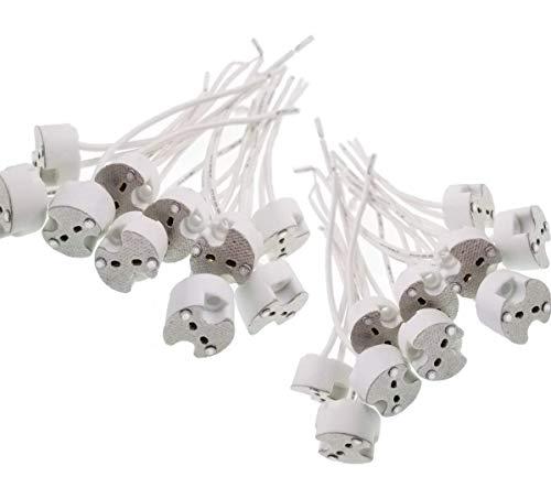 JZK 20pcs GU5.3 / MR16 Keramik Quarz Lampe Halter Buchse Licht Tasse Silikon Kabel für Halogenlampen, LED-Leuchten, weiß