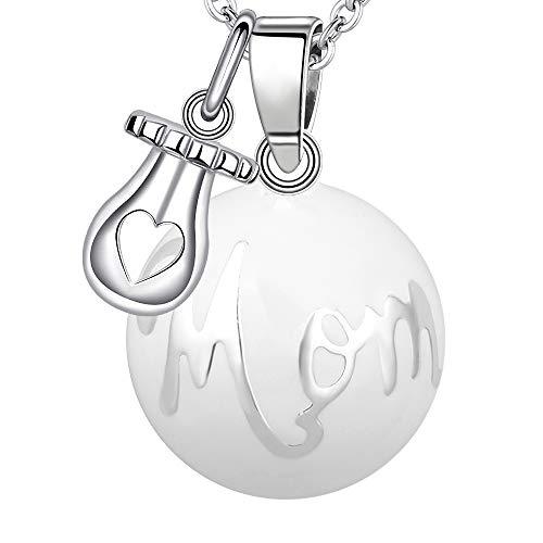 """MAMAE - Bola Embarazo Collar Colgante Joya Musical Harmony Ball""""Llamador de ángeles"""" Regalo para Mamá y su Bebé con Cadena, Chupete y Bola (114 CM, MOM TÉTINE-BLANC)"""