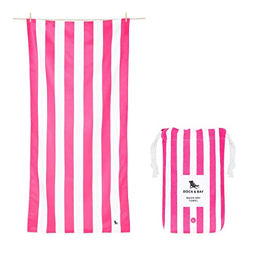 Dock & Bay Compact Beach Towel for Kids - and Adults, Travellers, Swimmers - Cabana - Phi Phi Pink - Large (160x80cm, 63x31) - Lightweight Towel Includes Travel Pouch